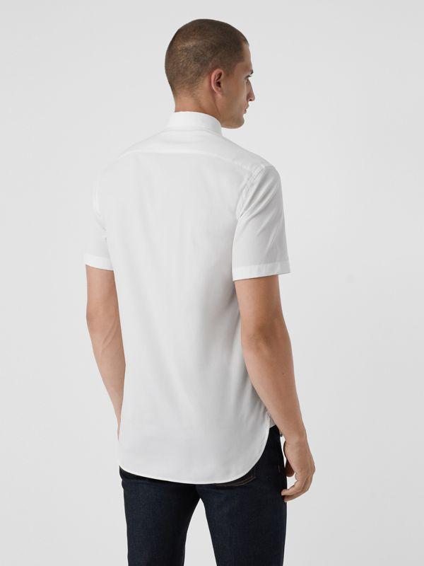 Short-sleeve Stretch Cotton Shirt in White - Men | Burberry - cell image 2