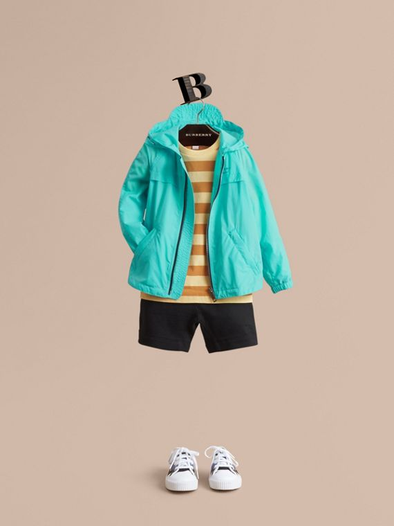 Showerproof Hooded Technical Jacket in Bright Turquoise