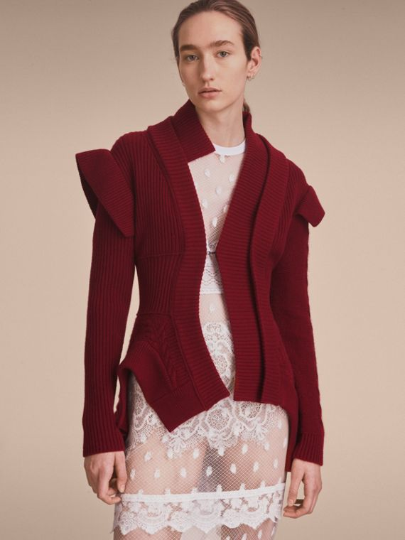 Knitted Wool Cashmere Military-inspired Jacket in Bordeaux