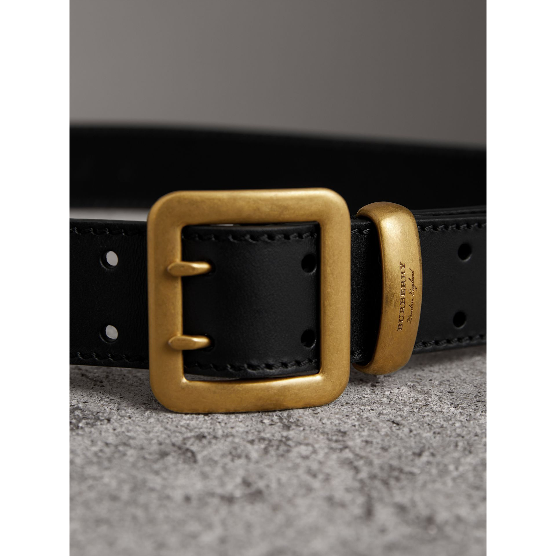 Double-pin Buckle Leather Belt in Black - Men | Burberry - gallery image 2
