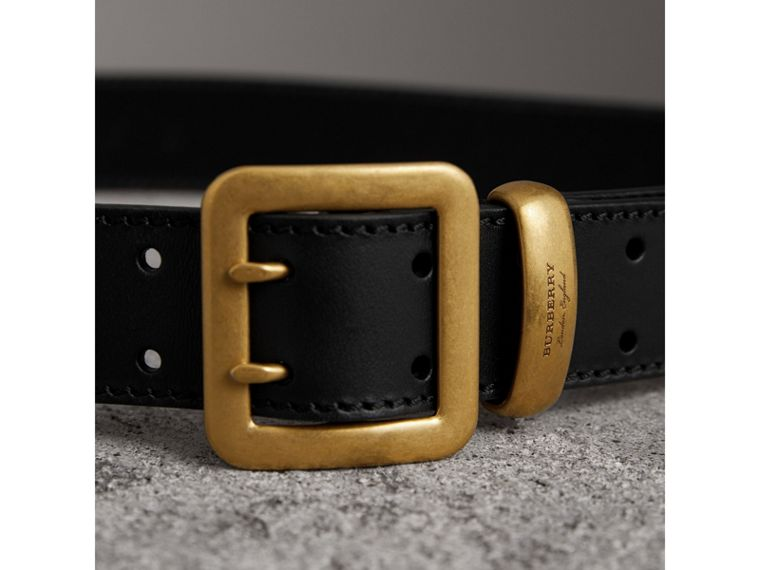 Double-pin Buckle Leather Belt in Black - Men | Burberry United States - cell image 1