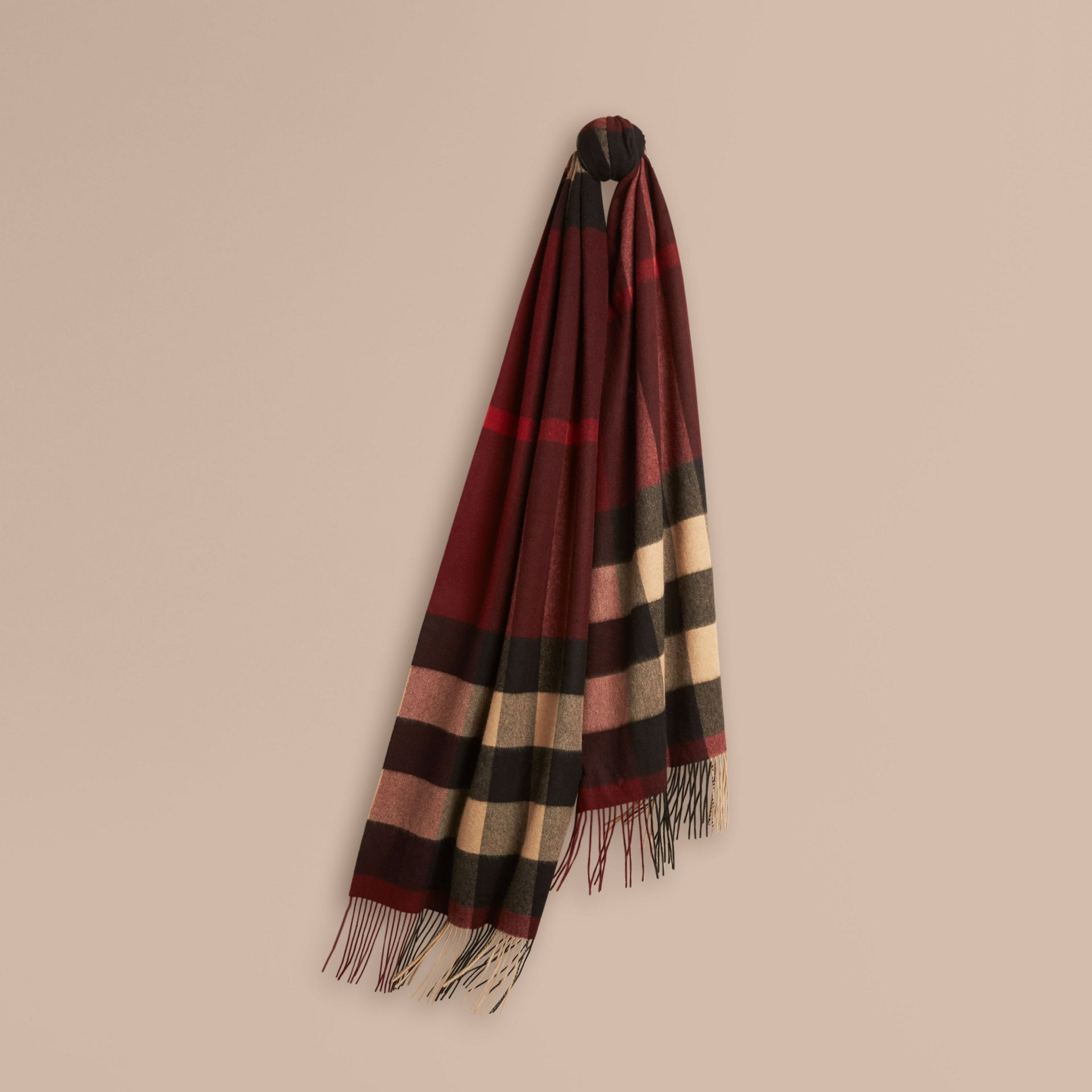 Oversize Check Cashmere Scarf in Claret - gallery image 1