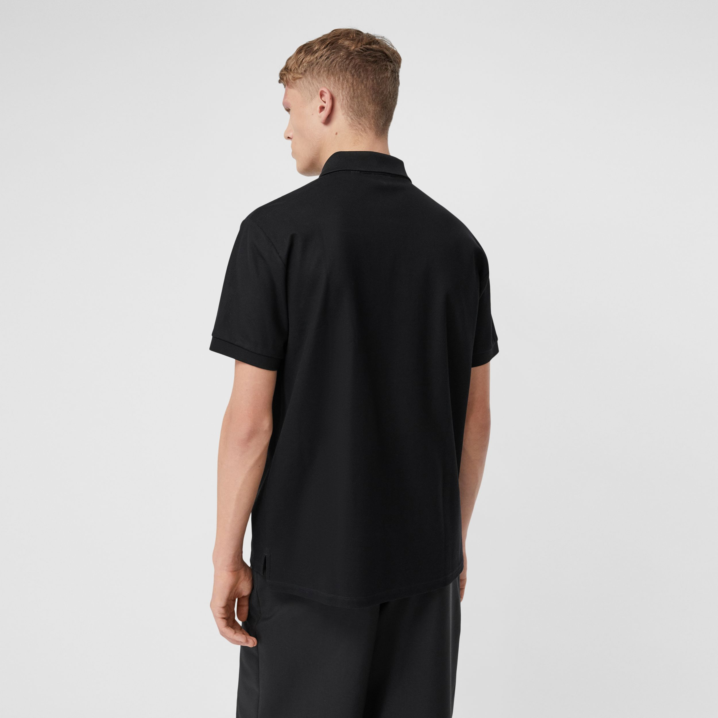 Zebra Appliqué Cotton Piqué Polo Shirt in Black - Men | Burberry - 3