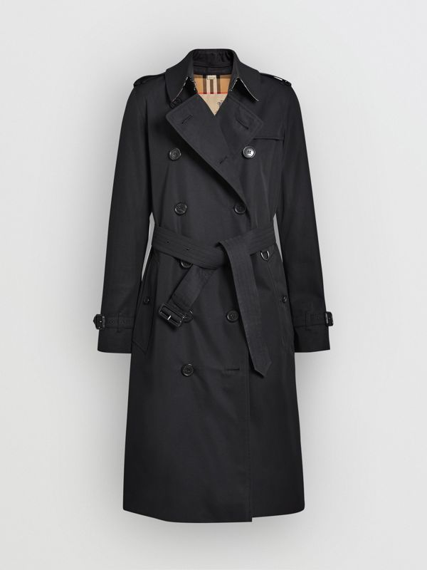 The Long Kensington Heritage Trench Coat in Midnight - Women | Burberry Australia - cell image 3