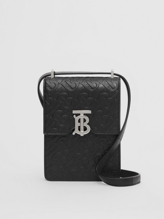 Monogram Leather Robin Bag in Black