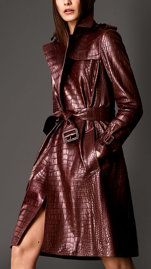 Maroon Alligator Wrap Trench Coat - Image 1