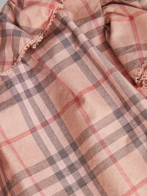 Ruffle Detail Check Cotton Dress with Bloomers in Light Rose - Children | Burberry - cell image 1