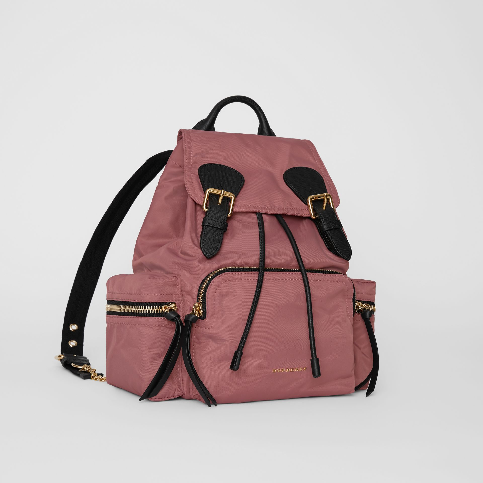 The Medium Rucksack in Technical Nylon and Leather in Mauve Pink - Women | Burberry United States - gallery image 4
