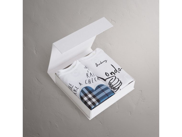 London Motif Cotton Two-piece Baby Gift Set in White | Burberry Canada - cell image 2