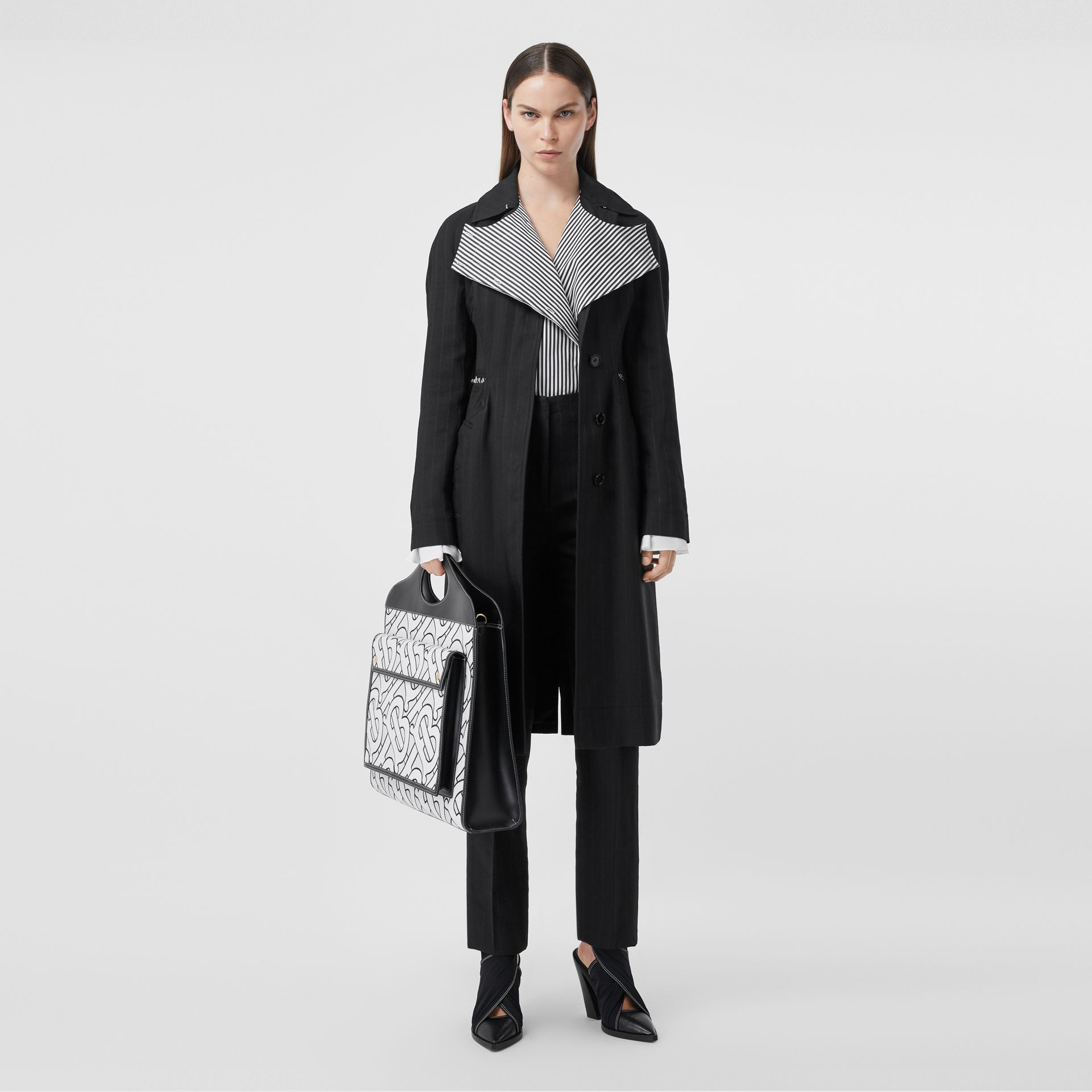 Pinstriped Technical Twill Reconstructed Car Coat in Black - Women | Burberry Australia - gallery image 5