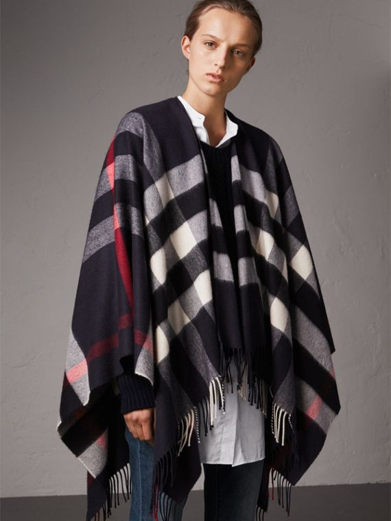 Check Cashmere and Wool Poncho in Navy