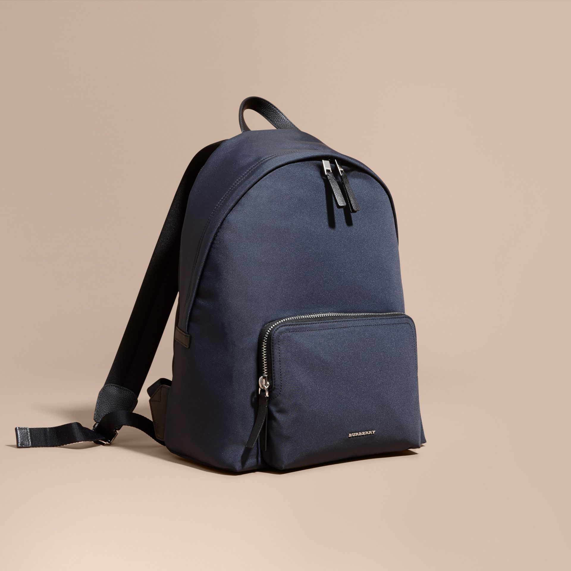 Leather Trim Technical Backpack in Dark Navy - Men | Burberry Canada - gallery image 1
