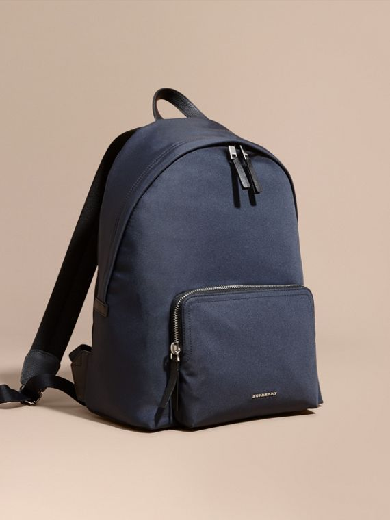 Leather Trim Technical Backpack Dark Navy