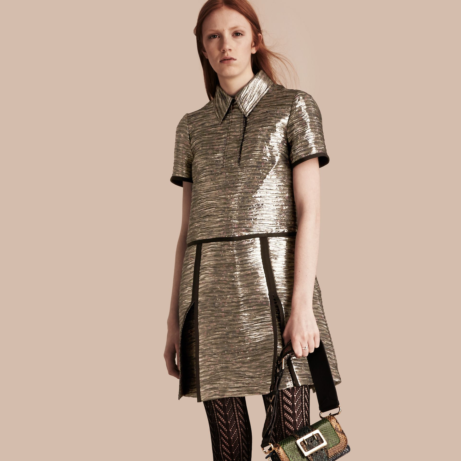 Mist grey Metallic Jacquard Shirt Dress - gallery image 1