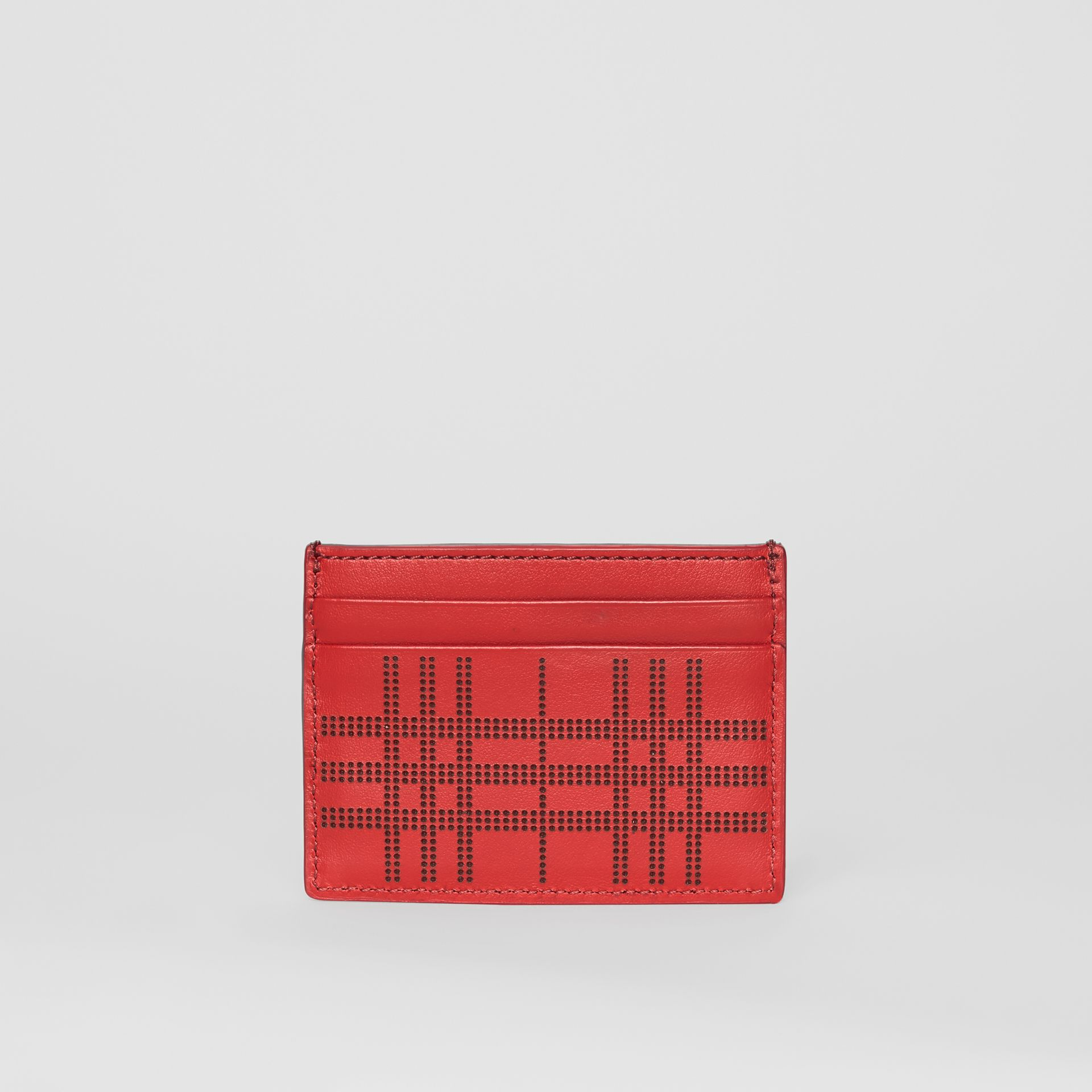 Perforated Check Leather Card Case in Rust Red | Burberry - gallery image 2