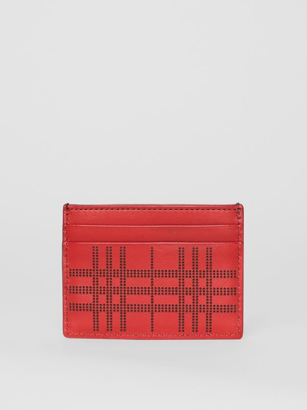 Perforated Check Leather Card Case in Rust Red | Burberry - cell image 2