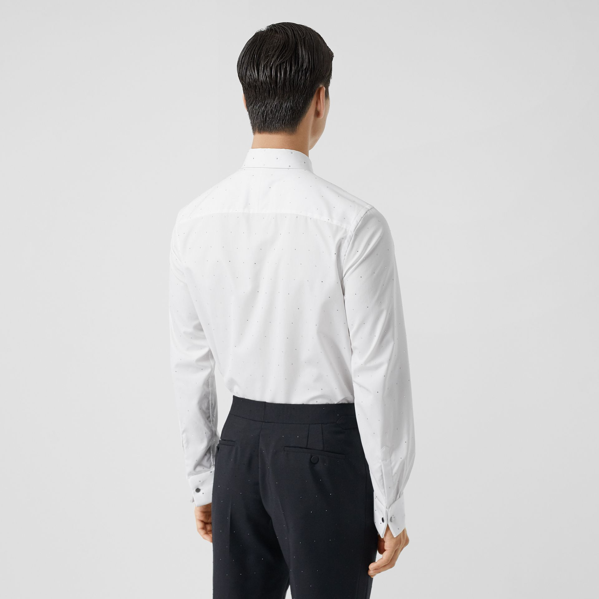 Embellished Cotton Poplin Dress Shirt in Optic White - Men | Burberry - gallery image 2