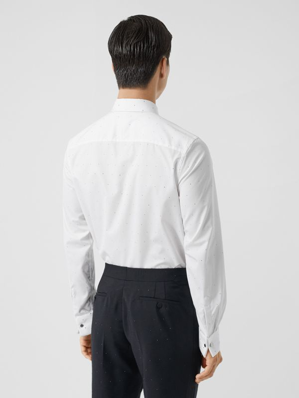 Embellished Cotton Poplin Dress Shirt in Optic White - Men | Burberry - cell image 2