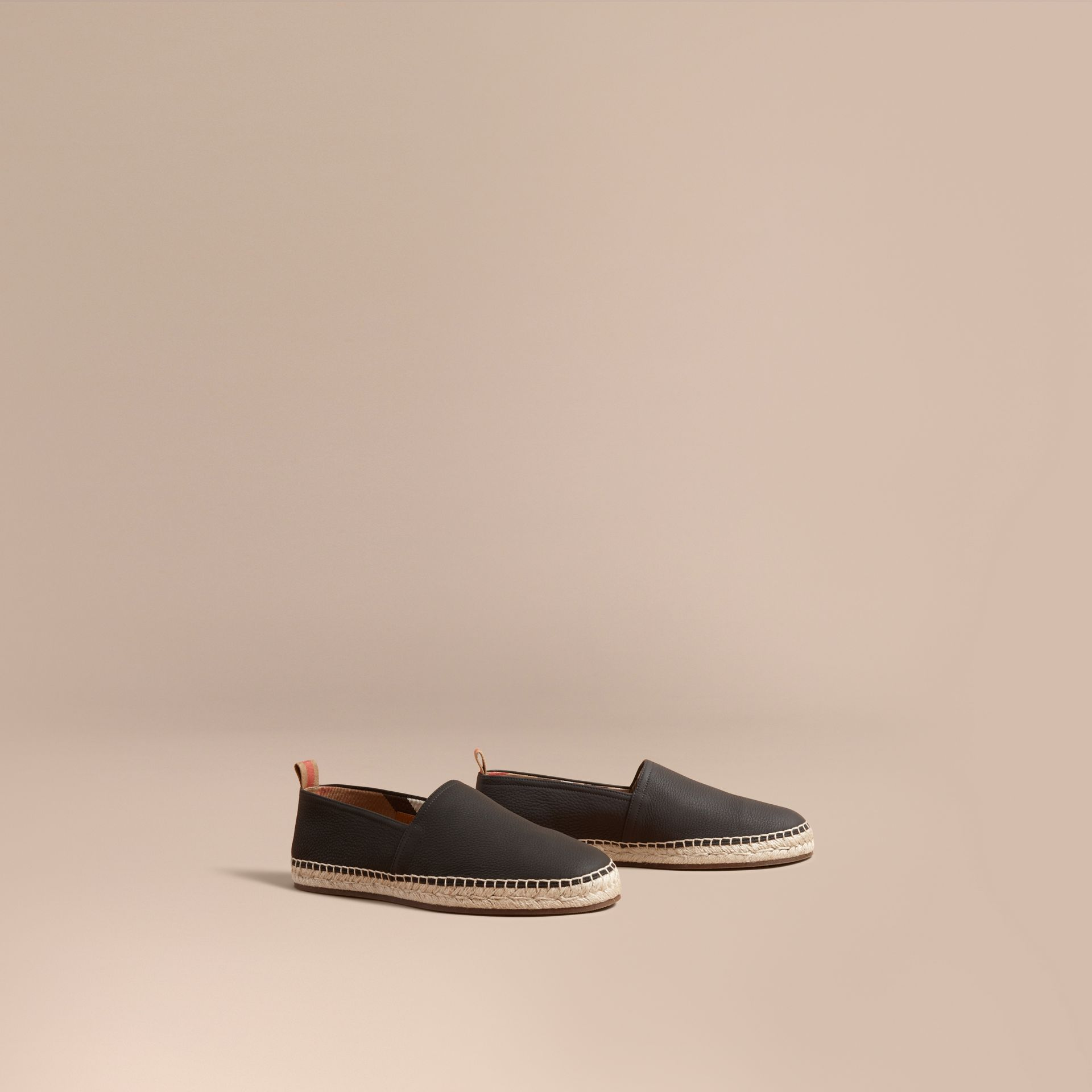 Check Detail Leather Espadrilles Black - gallery image 1