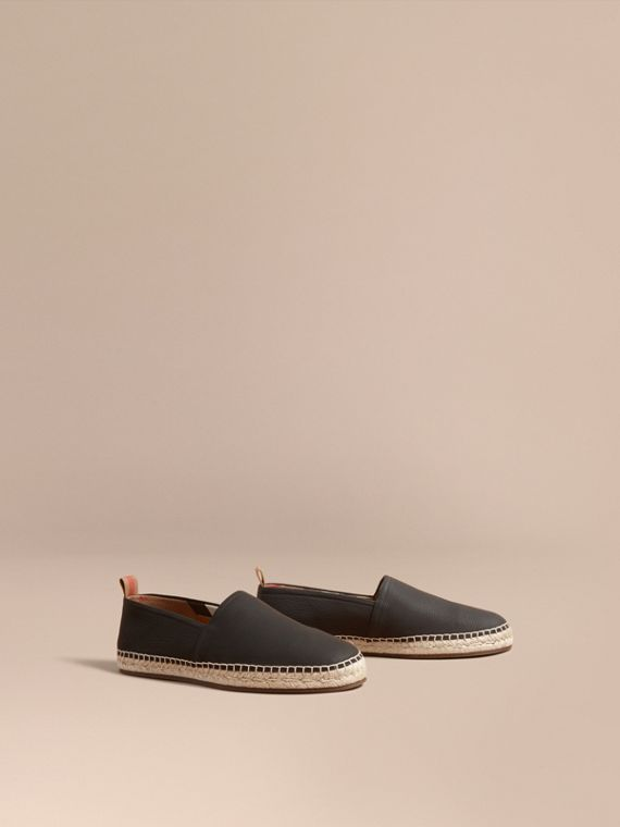 Check Detail Leather Espadrilles Black