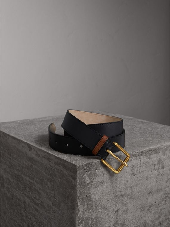 Two-tone Trench Leather Belt in Black