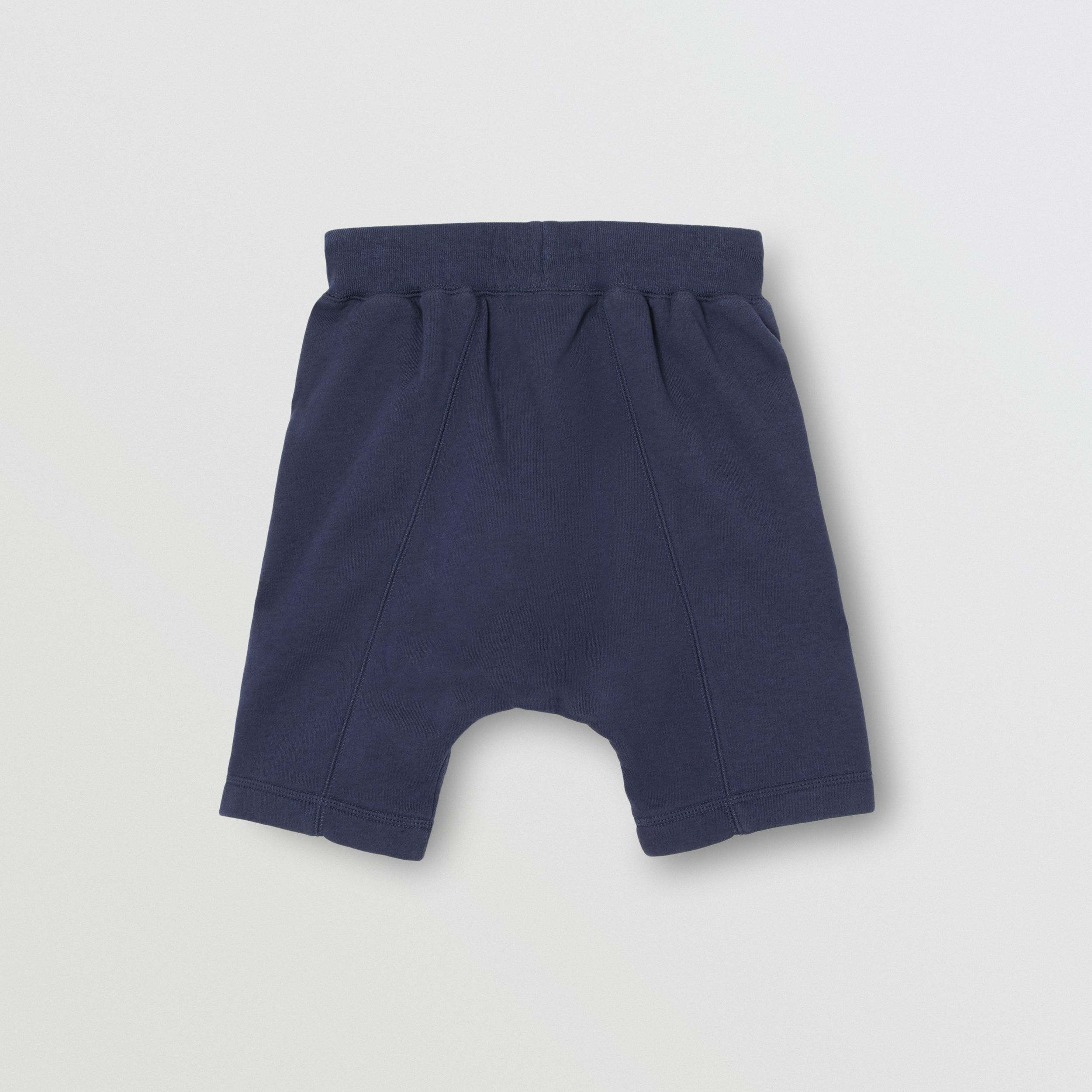 Kingdom Motif Cotton Drawcord Shorts in Slate Blue Melange | Burberry - 4