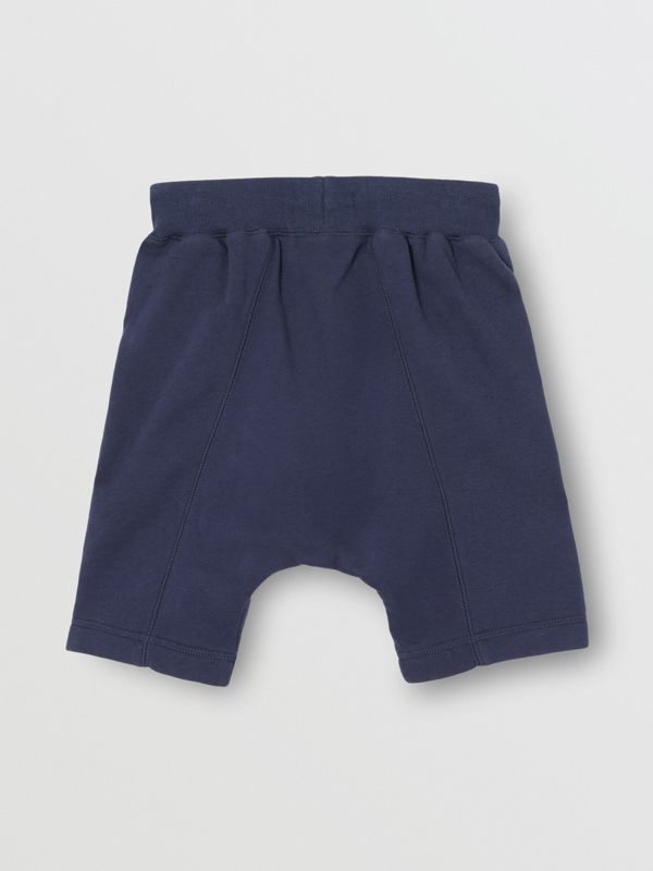 Kingdom Motif Cotton Drawcord Shorts in Slate Blue Melange | Burberry - cell image 3