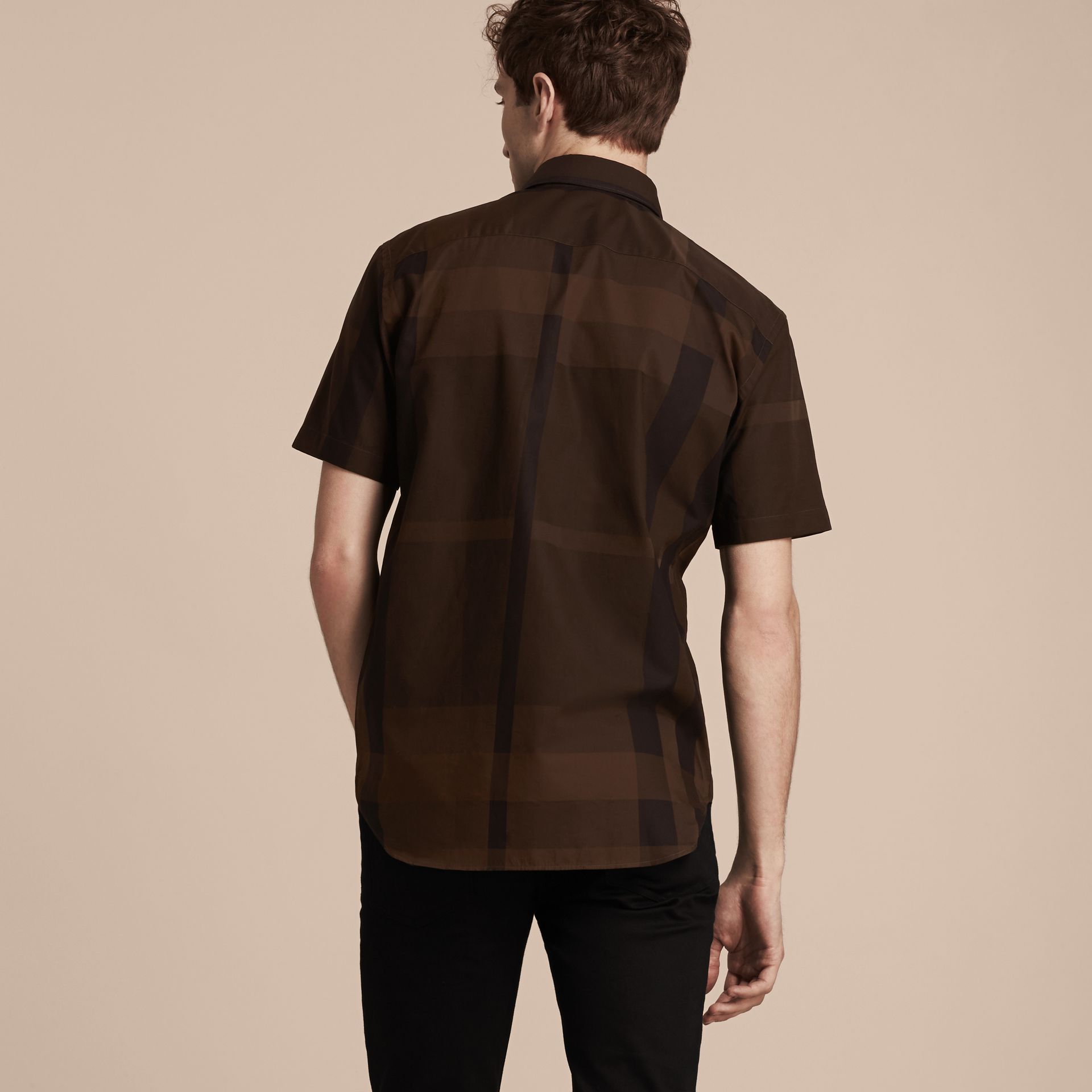 Chocolate check Short-sleeved Check Cotton Shirt Chocolate - gallery image 3