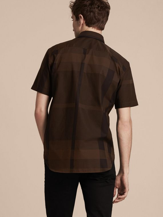Chocolate check Short-sleeved Check Cotton Shirt Chocolate - cell image 2
