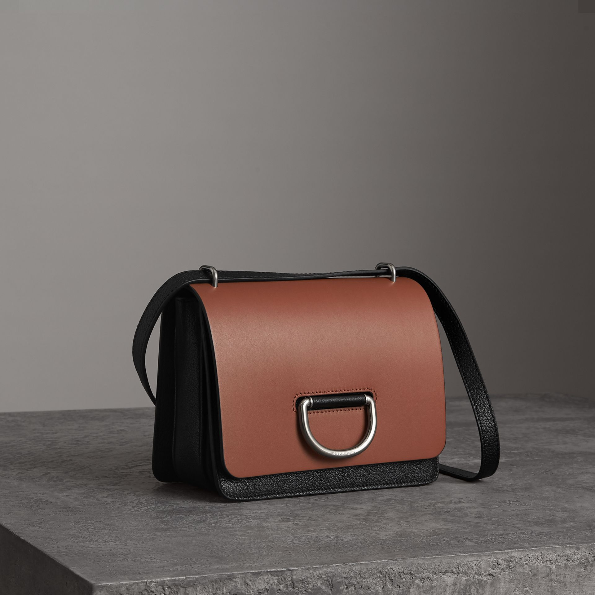 The Small Leather D-ring Bag in Tan/black - Women | Burberry - gallery image 6