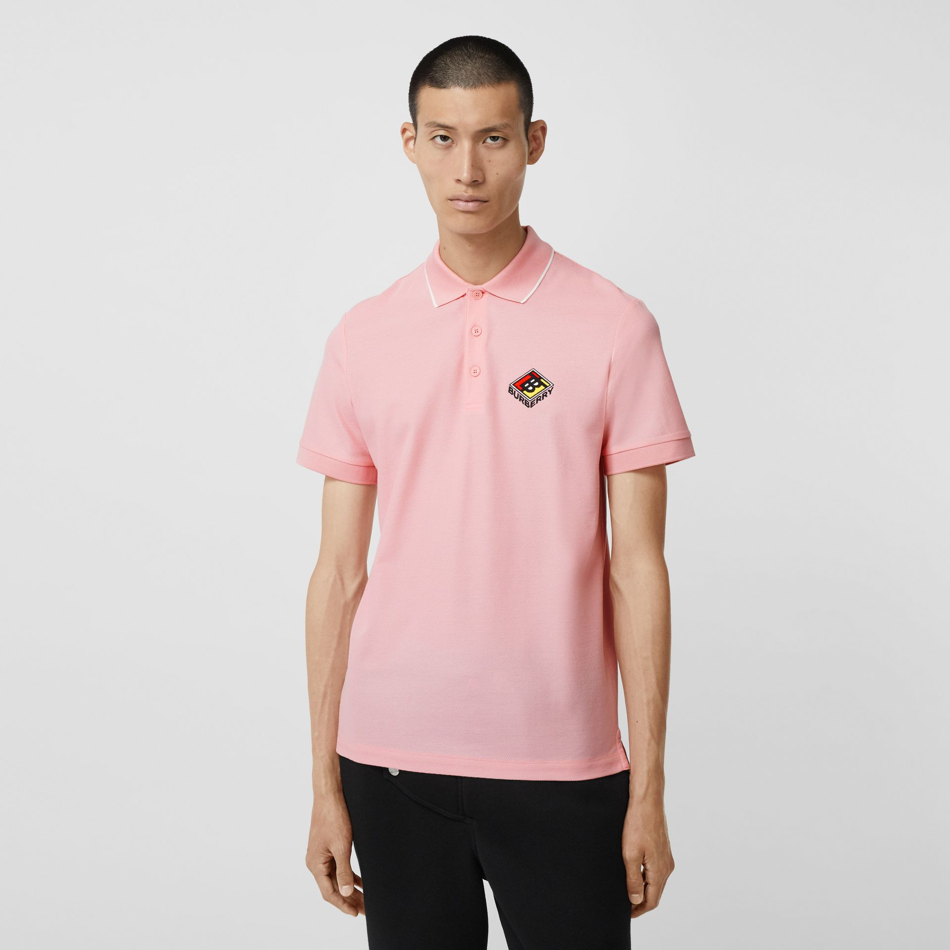 Logo Graphic Cotton Piqué Polo Shirt in Candy Pink - Men | Burberry - gallery image 4