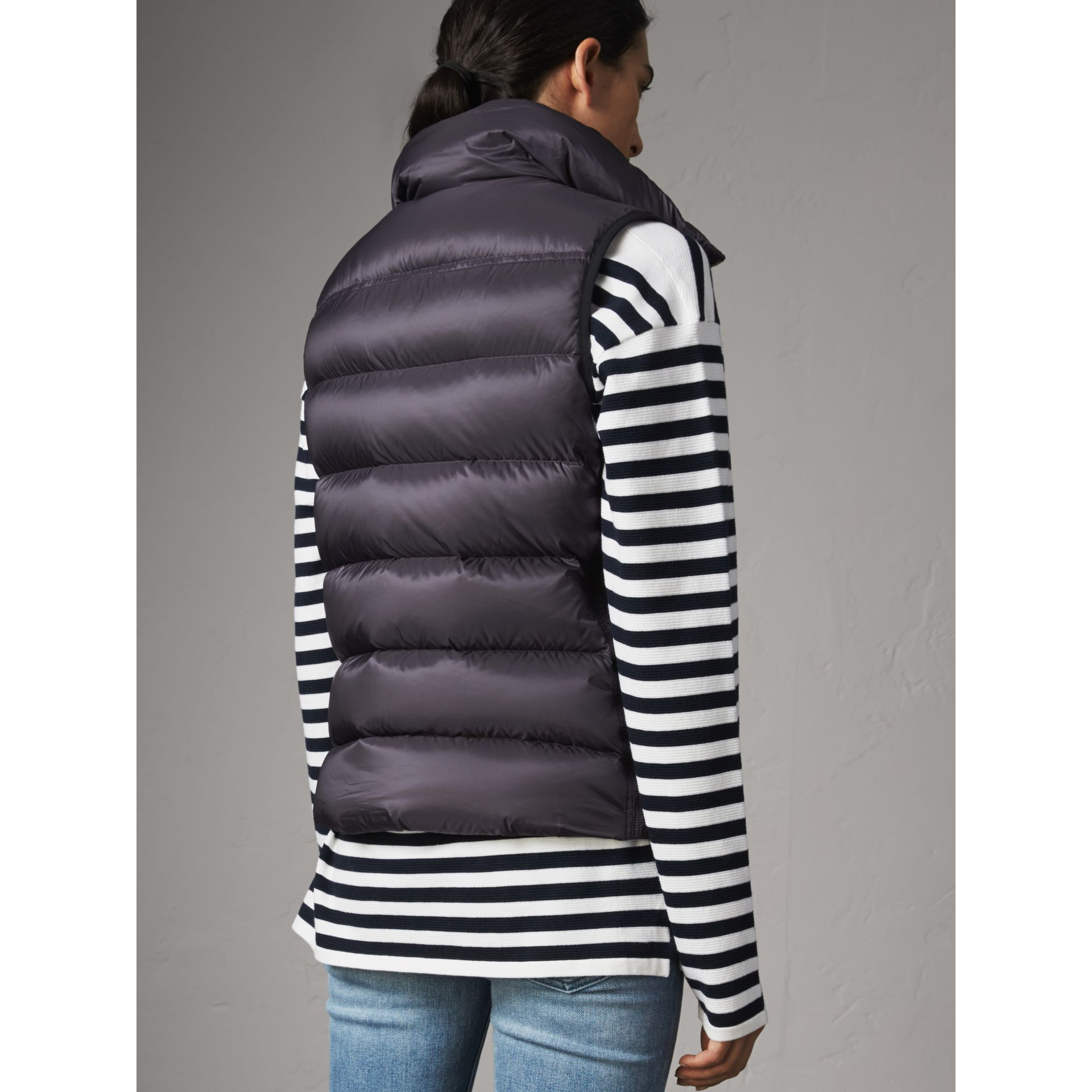 Down-filled Gilet in Blue Black - Women | Burberry - gallery image 3