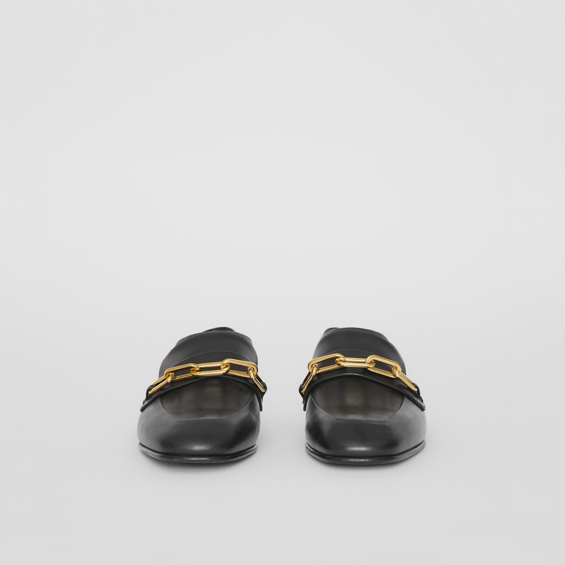 Link Detail Leather Slingback Loafers in Black - Women | Burberry - gallery image 3
