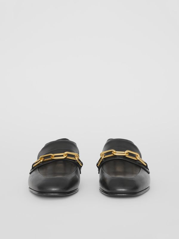 Link Detail Leather Slingback Loafers in Black - Women | Burberry - cell image 3