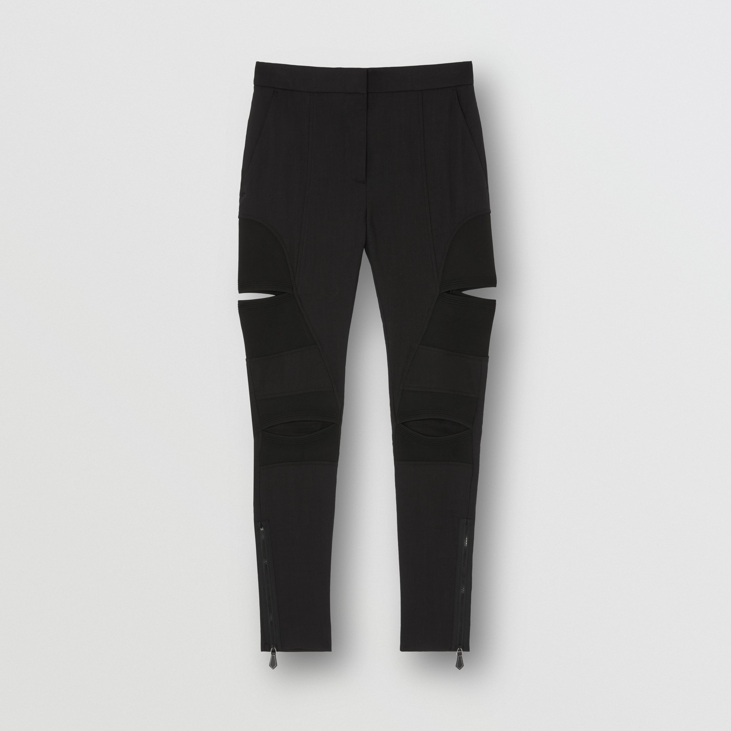 Cut-out Panel Technical Twill Skinny Fit Trousers in Black - Women | Burberry - 4