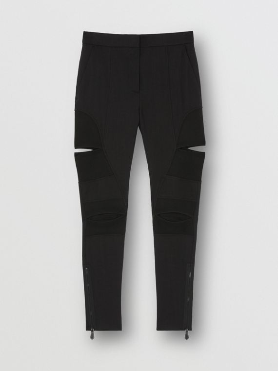 Cut-out Panel Technical Twill Skinny Fit Trousers in Black