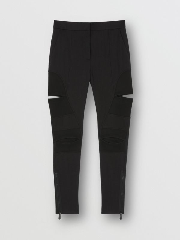 Cut-out Panel Technical Twill Skinny Fit Trousers in Black - Women | Burberry - cell image 3