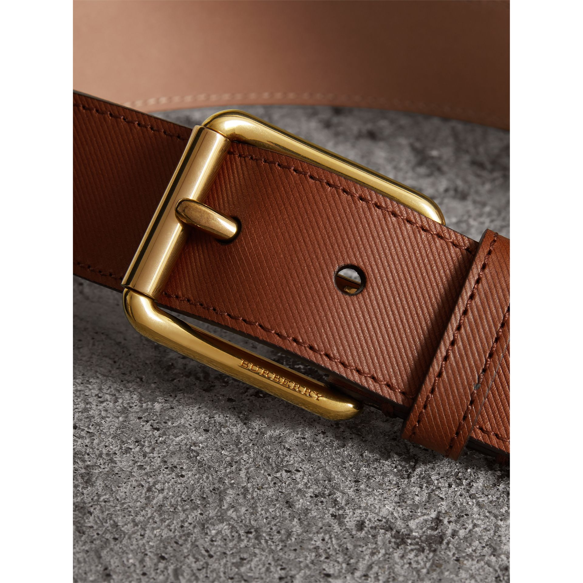 Trench Leather Belt in Tan - Men | Burberry United Kingdom - gallery image 1