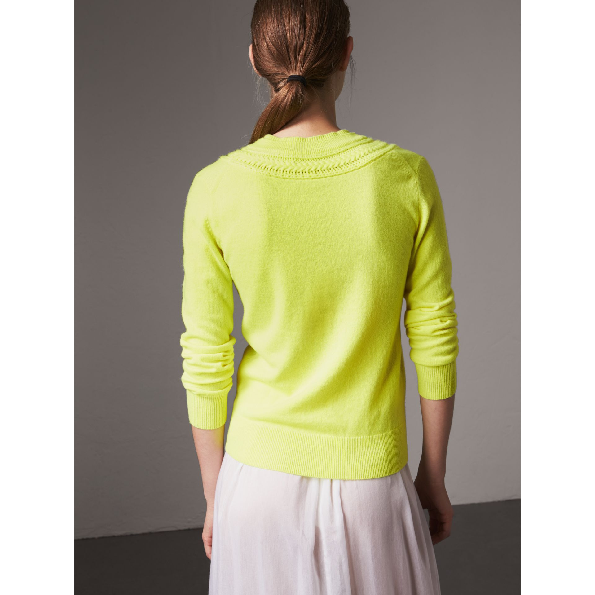 Cable Knit Yoke Cashmere Sweater in Fluorescent Yellow - Women | Burberry - gallery image 2