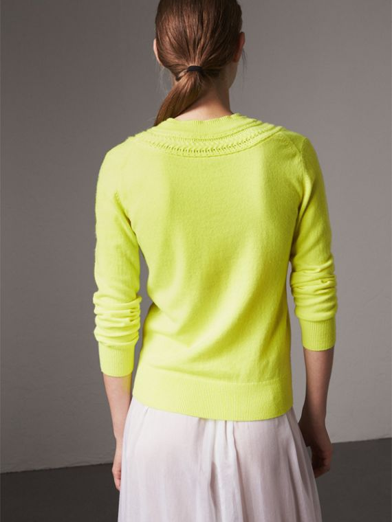 Cable Knit Yoke Cashmere Sweater in Fluorescent Yellow - Women | Burberry Hong Kong - cell image 2