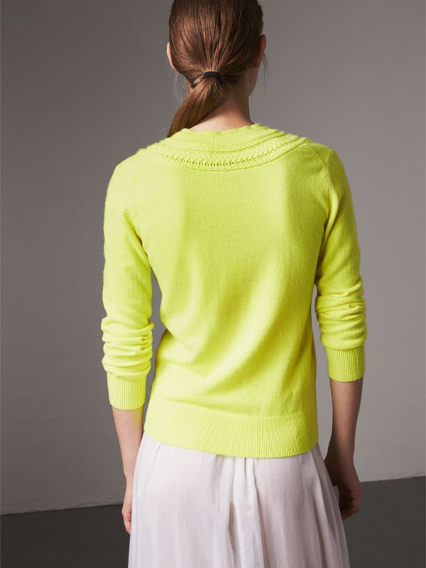 Cable Knit Yoke Cashmere Sweater in Fluorescent Yellow - Women | Burberry - cell image 2
