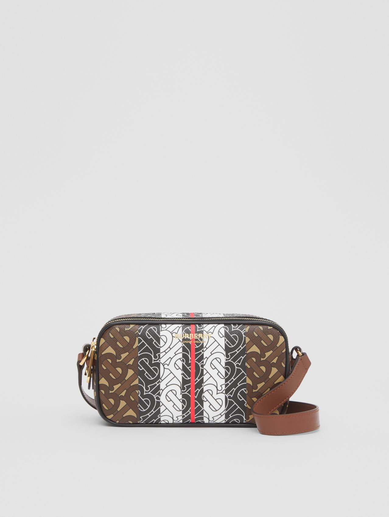 Mini Monogram Stripe E-canvas Camera Bag in Bridle Brown