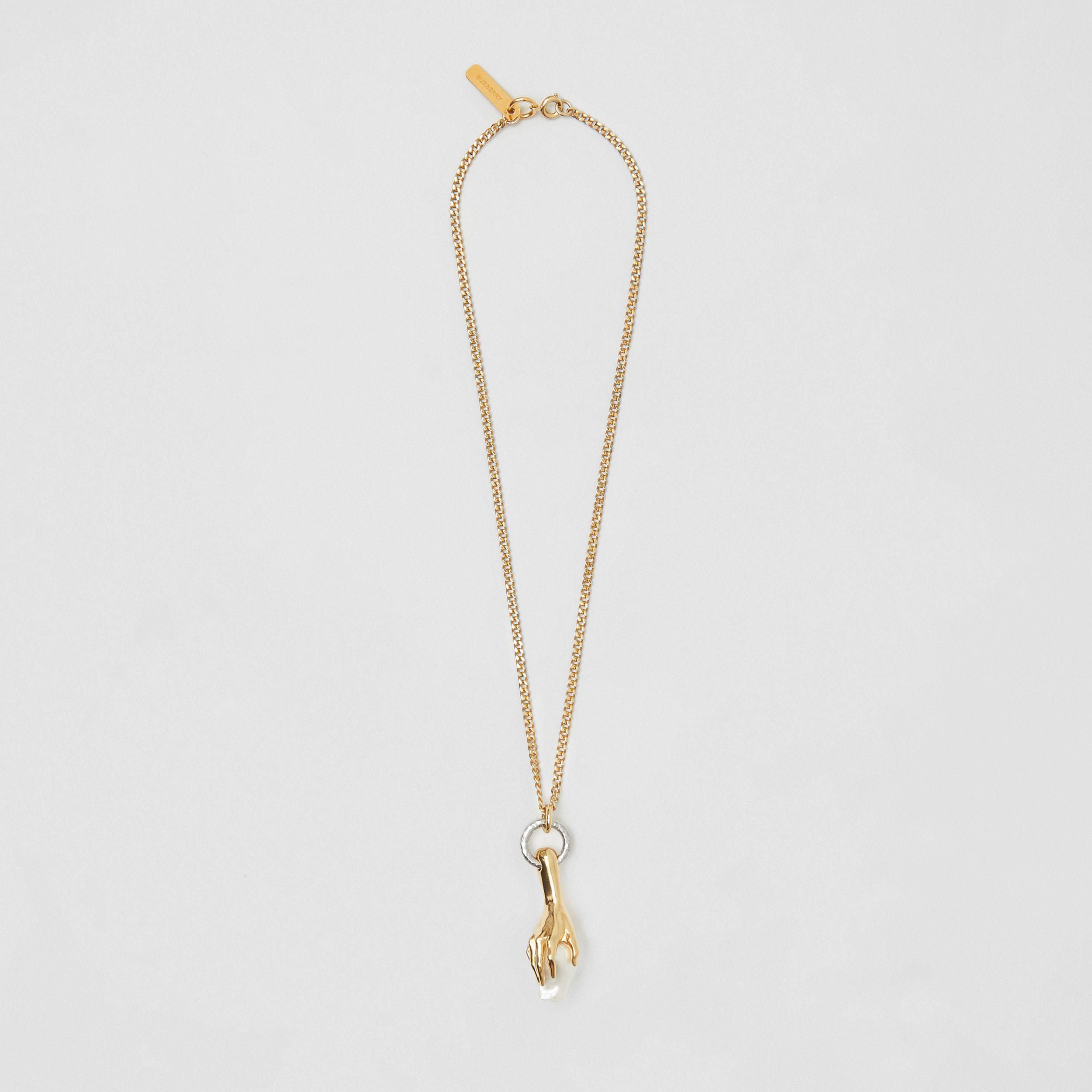 Resin Pearl Gold-plated Chain Necklace in Light - Women | Burberry - 1