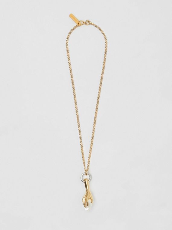 Faux Pearl Detail Gold-plated Necklace in Light Gold/white