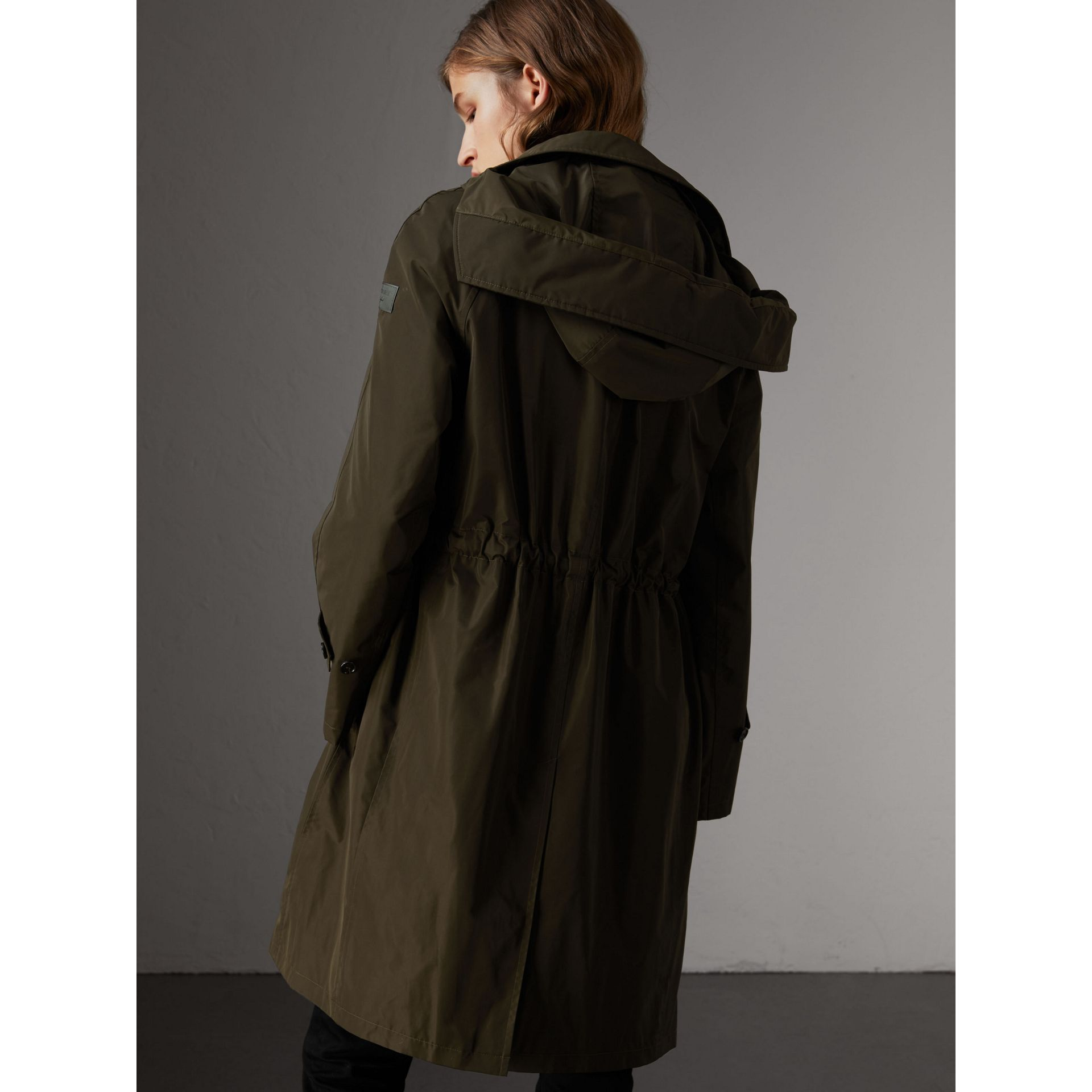 Detachable Hood Showerproof Car Coat in Dark Olive - Women | Burberry United States - gallery image 2