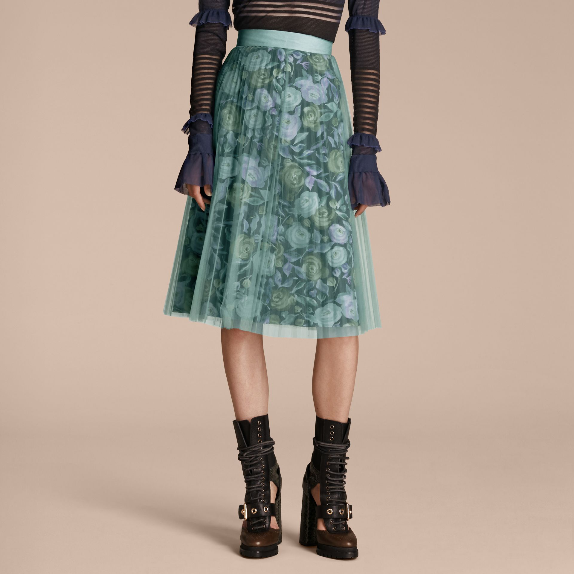 Watercolour Rose Print and Pleated Tulle Skirt in Aqua Green - gallery image 1