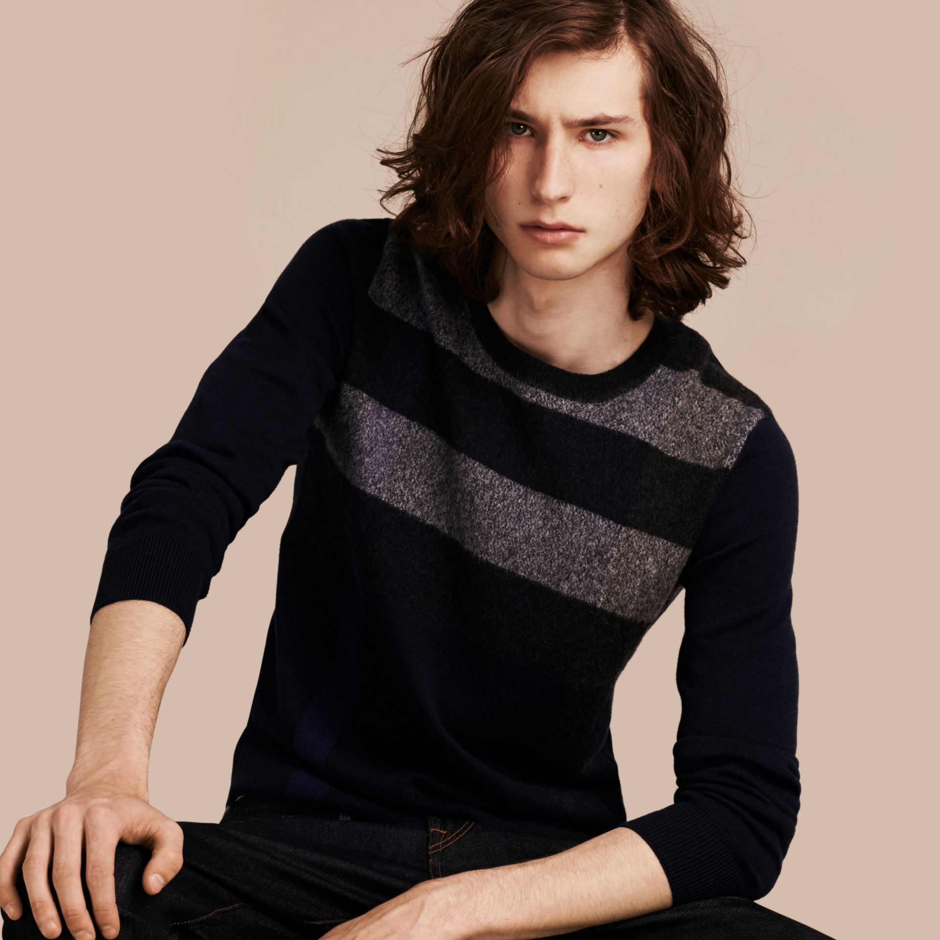 Graphic Check Cashmere Cotton Sweater Navy - gallery image 1