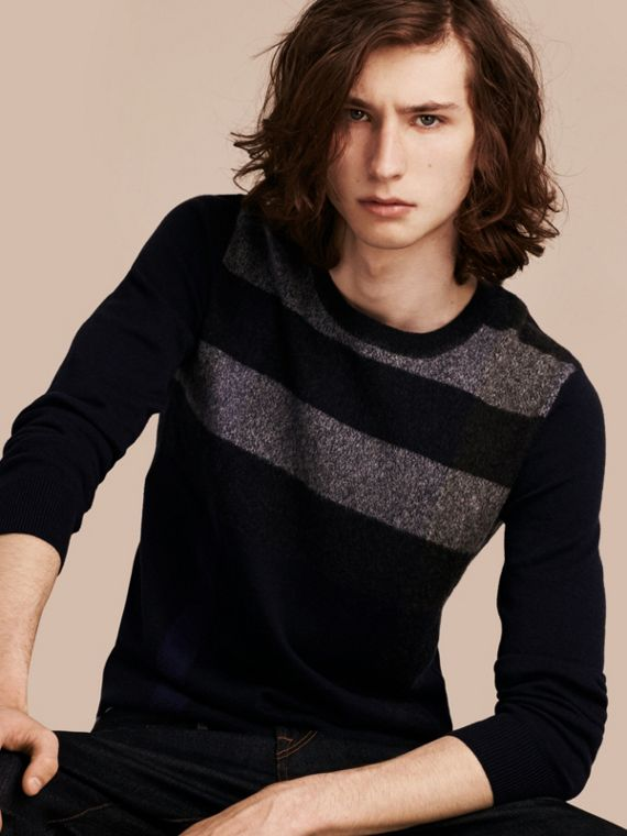 Graphic Check Cashmere Cotton Sweater in Navy