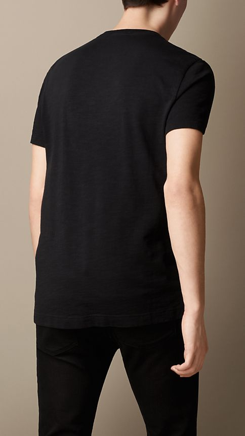 Black Slub Jersey Double Dyed T-Shirt Black - Image 2