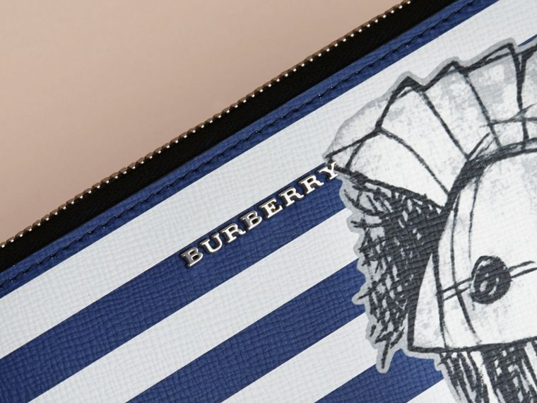 Pallas Helmet Motif London Leather Travel Wallet in Bright Cyan Blue - Men | Burberry - cell image 1